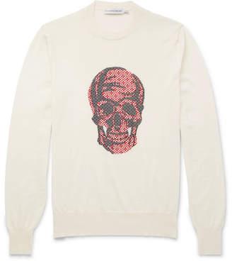 Alexander McQueen Jacquard-Knit Wool Sweater - Men - Cream