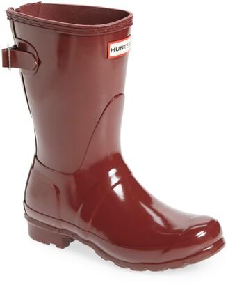 Hunter Short Adjustable Back Gloss Waterproof Rain Boot