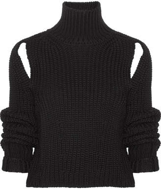 CALVIN KLEIN 205W39NYC - Cropped Cutout Wool Sweater - Black $725 thestylecure.com