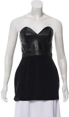 Naven Strapless Leather-Trimmed Top