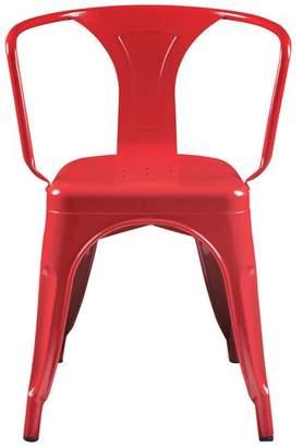 Euro Style Corsair Arm Chair, High Gloss Red