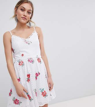Little Mistress Petite Full Prom Skater Dress In Rose Embroidery