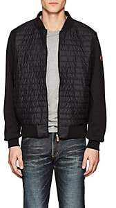 Save The Duck SAVE THE DUCK MEN'S JERSEY-BACK CHANNEL-QUILTED BASEBALL JACKET-BLACK SIZE XL