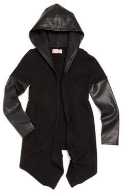 Blank NYC Girl's Faux Leather& Knit Hooded Cardigan