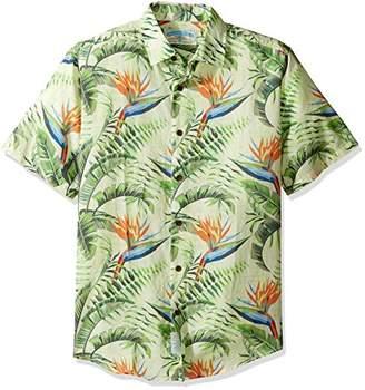 Margaritaville Men's Short Sleeve Printed 100% Lightweight Cotton Dobby Shirt