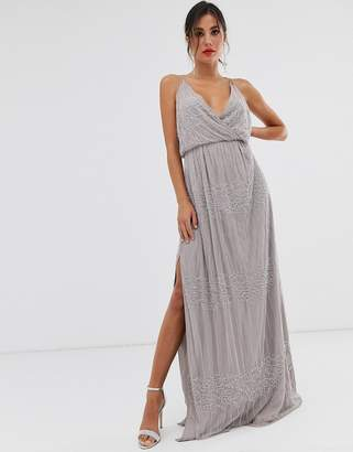 Asos Design DESIGN wrap bodice maxi dress in linear and floral embellishment