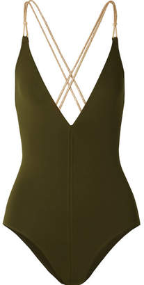 Eres Bangles Blondi Metallic-trimmed Swimsuit - Army green