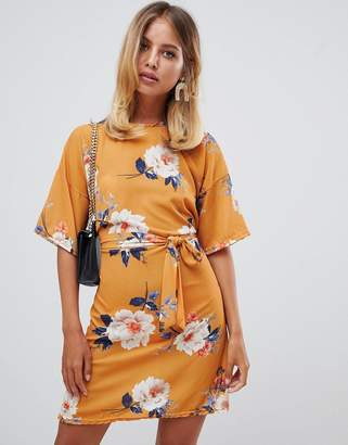 Missguided tie front t-shirt dress in yellow floral