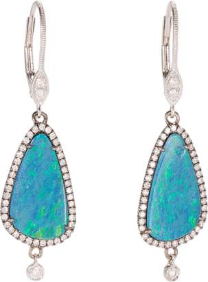 Meira T White Gold Earrings with Opal and Diamonds