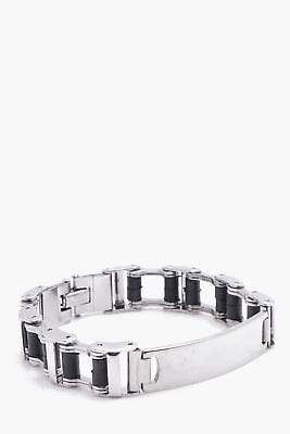 boohoo NEW Mens Box Chain ID Bracelet in Silver size One Size
