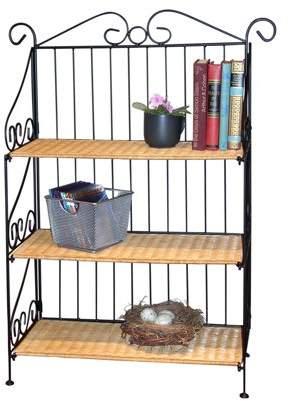 4D Concepts 3-Tier Shelf, Wicker/Steel