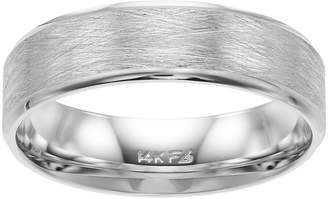 Men's 14k White Gold Wire Finish Wedding Band