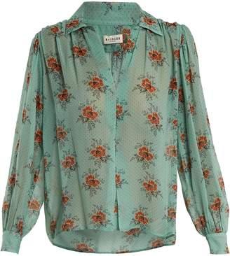 Masscob Gathered floral-print silk blouse