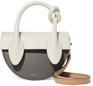 Yuzefi Dolores Color-block Textured-leather Shoulder Bag - Gray