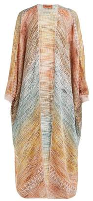 Missoni Long Zigzag Knitted Cardigan - Womens - Gold Multi