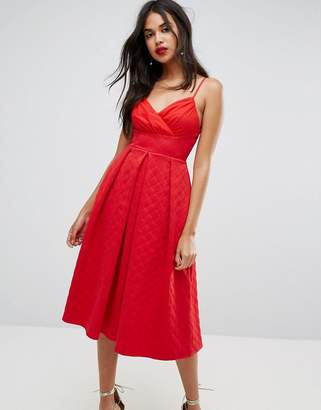 Asos Scuba Quilted Prom Midi Dress with Gathered Bodice