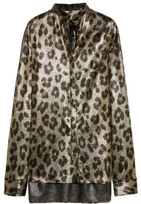 Haider Ackermann Oversized Leopard-Print Silk-Blend Lamé Shirt