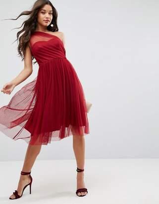 Asos Dobby One Shoulder Midi Prom Dress