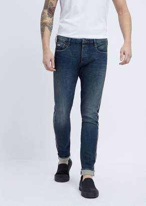 Emporio Armani Extra Slim-Fit Stretch Denim Jeans With Outer Selvedge