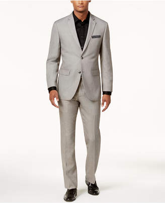Perry Ellis Men's Slim-Fit Light Gray Sharkskin Suit