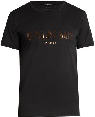 BALMAIN Logo-print cotton T-shirt $192 thestylecure.com