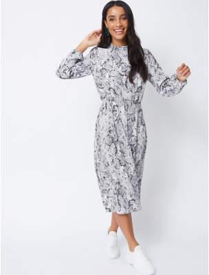 George Grey Snakeskin Print High Neck Midi Dress