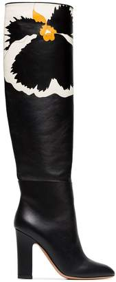 Valentino floral knee high boots