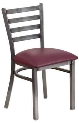 clear Flash Furniture HERCULES Series Coated Ladder Back Metal Restaurant Chair - Vinyl Seat Multiple Colors