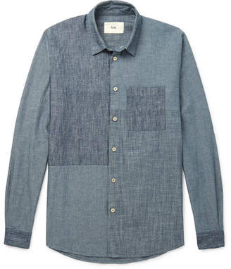 Folk Patchwork Cotton and Linen-Blend Chambray Shirt - Blue