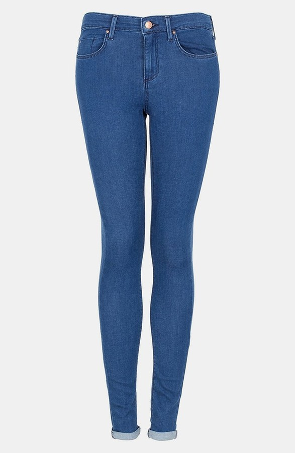 Moto 'Leigh' Skinny Jeans (Blue) (Regular, Short & Long)