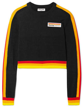 Opening Ceremony Cropped Striped Cotton Sweater - Black