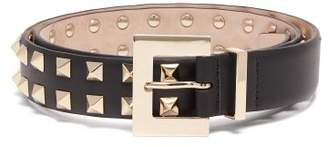 Valentino Rockstud Double Row Leather Belt - Womens - Black