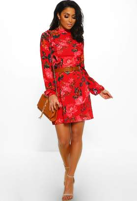Pink Boutique What A Sweetie Red Floral Print Long Sleeve Mini Dress