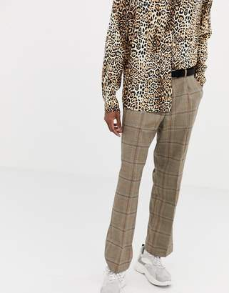 Collusion COLLUSION suit pants in brown windowpane check