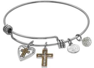 "Love This Life love this life ""Faith Hope Love"" Cross Bangle Bracelet"