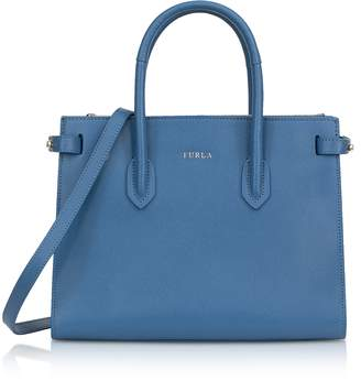 Furla Genziana Blue Leather E/W Pin Small Tote Bag