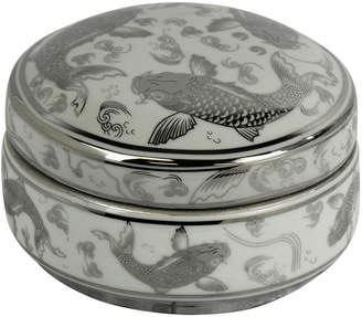 Sagebrook Home White/Silver Ceramic Koi Box