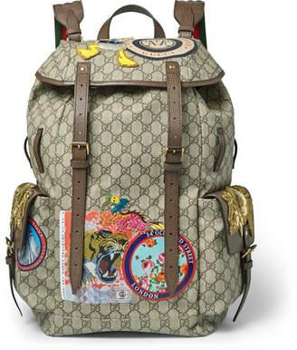 Gucci Leather-Trimmed Appliquéd Monogrammed Coated-Canvas Backpack