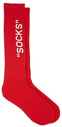 "Off-White Men's ""Socks"" Cotton-Blend Mid-Calf Socks - Red"