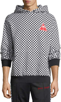 Palm Angels Checked Fleece Pullover Hoodie