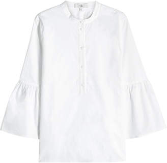 Tibi Cotton Shirt with Bell Sleeves