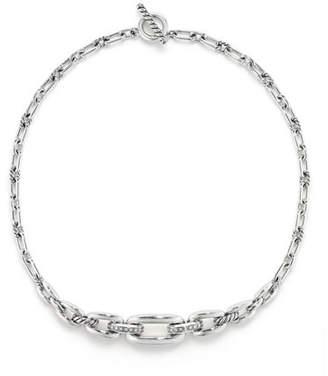 David Yurman Wellesley Sterling Silver Chain Choker Necklace with Diamonds