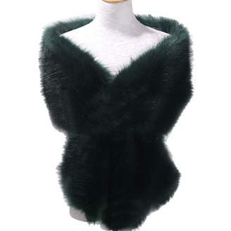 JINGDRESS Faux Fur Wrap Stole Shrug Winter Bridal Wedding Cover Up
