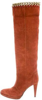 Sergio Rossi Chain-Link Suede Boots