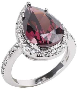 Kenneth Jay Lane CZ By Imitation CZ Garnet Halo Band Ring