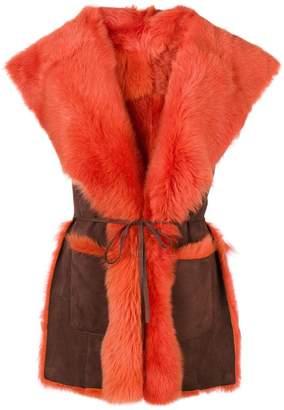 Alberta Ferretti sleeveless oversized collar jacket
