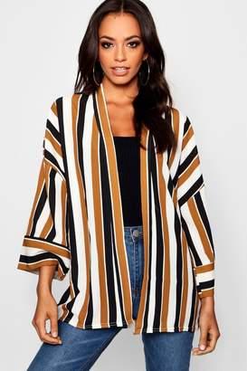 boohoo Stripe Contrast Cuff Kimono