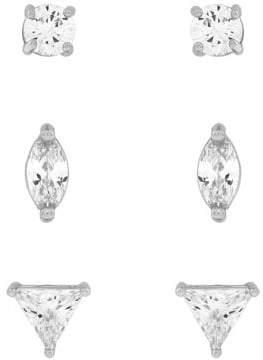 Jessica Simpson Set of Three Crystal Stud Earrings