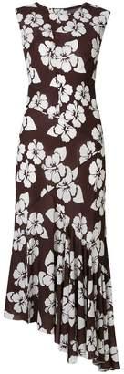 Simonetta Ravizza floral asymmetric ruffle hem dress