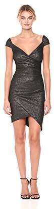 Nicole Miller Women's Flitter Knit Off Shoulder Stefanie Dress